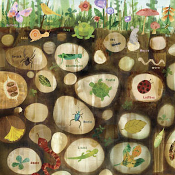 Children's wall art featuring insects and animals hiding underground.