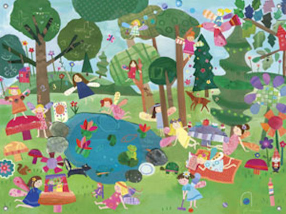 Forest fairies wall mural for Fairy forest mural