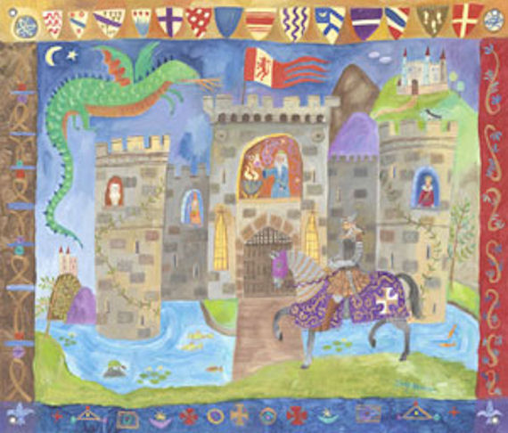 Castle Wall Mural knight and castle mural wall art