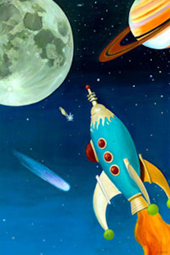 Retro rocket personalized canvas wall art for Outer painting design