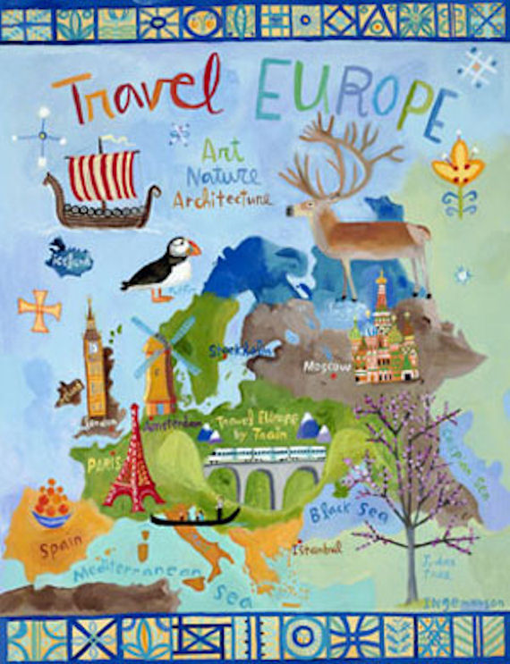 Travel europe wall art wall sticker outlet
