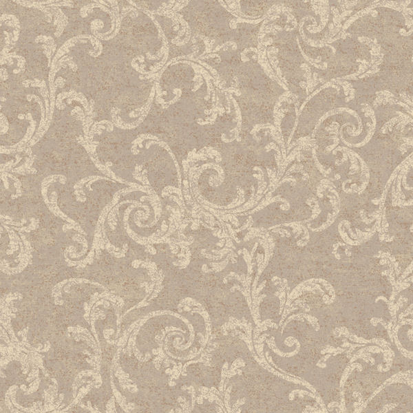 Grey And Cream Textured Scroll Wallpaper