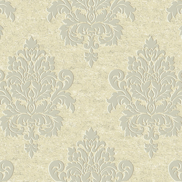 Gold And Grey Etched Damask Wallpaper