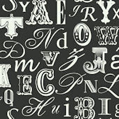 Word Play Black and White Prepasted Wallpaper