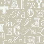 Word Play Taupe and White Prepasted Wallpaper
