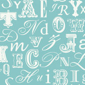 Word Play Blue and White Prepasted Wallpaper