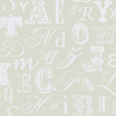 Word Play Tan and White Prepasted Wallpaper
