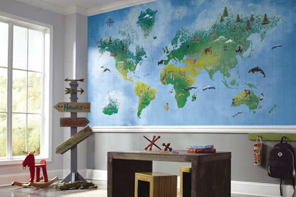 Animal Tracks Map SB7728M Wallpaper Mural - Wall Sticker Outlet