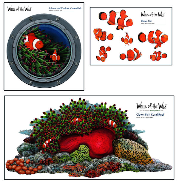 Clown Fish Coral Reef  Collection Decal  - Wall Sticker Outlet