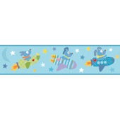 Rocket Dog Blue Prepasted Wall Border