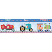 Cars 1 2 3 Blue Prepasted Wall Border