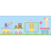Circus Train Blue Prepasted Wall Border