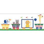 Circus Train Primary Prepasted Wall Border
