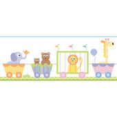 Circus Train Pastel Prepasted Wall Border
