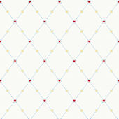 Hearts and Harlequins Red Prepasted Wallpaper