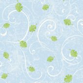 Leaf Scroll Blue Prepasted Wallpaper