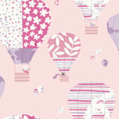 Hot Air Balloons Pink Prepasted Wallpaper