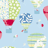 Hot Air Balloons Blue Prepasted Wallpaper