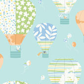 Hot Air Balloons Prepasted Wallpaper