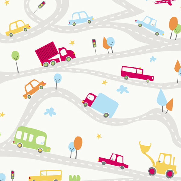 Around Town White Prepasted Wallpaper - Wall Sticker Outlet