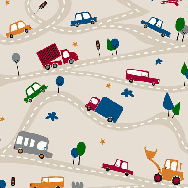Around Town Taupe Prepasted Wallpaper - Wall Sticker Outlet