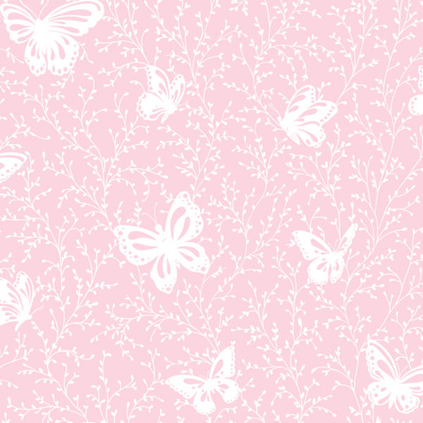 Butterfly Garden Pink Prepasted Wallpaper - Wall Sticker Outlet