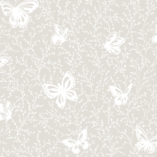 Butterfly Garden Gray Prepasted Wallpaper - Wall Sticker Outlet