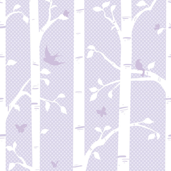Garden Butterfly and Birds Purple Wall Mural - Wall Sticker Outlet