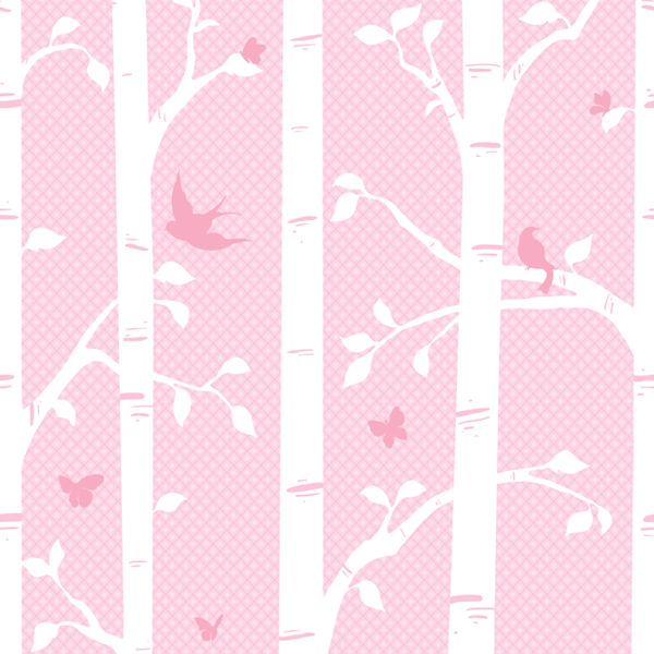 Garden Butterfly and Birds Pink Wall Mural - Wall Sticker Outlet