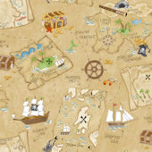 Pirate Map Brown Prepasted Wallpaper
