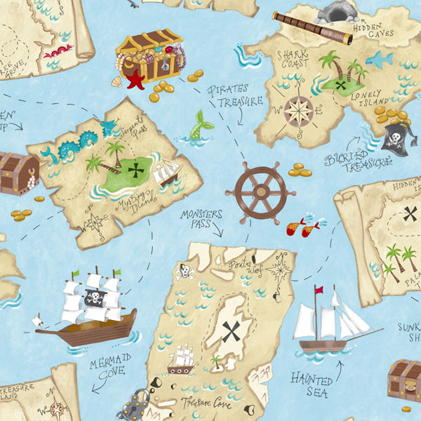 Pirate map blue prepasted wallpaper
