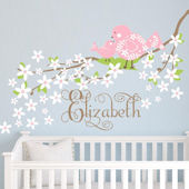 Baby Bird on Blossoming Branch Fabric Decal