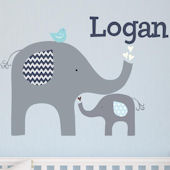 Blue Elephant Love Fabric Decal