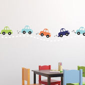 Cars in a Row Fabric Decal