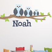 Owl Family Boy Fabric Decal