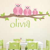 Owl Family Girl Fabric Decal