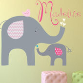 Pink Elephant Love Fabric Decal