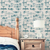 Airplanes Slate Teal Peel and Stick Wallpaper