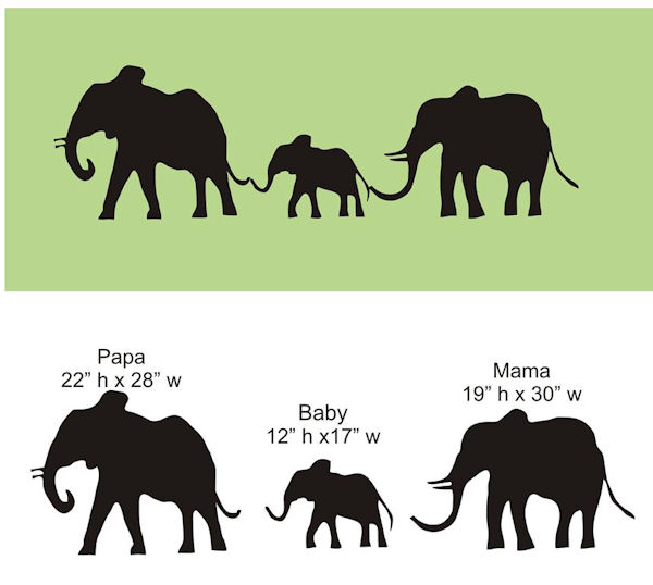 Chalkboard Elephant Family Decal