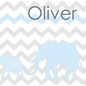 Elephant Chevron Safari Blue Canvas Wall Art