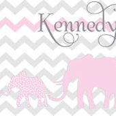 Elephant Chevron Safari Pink Canvas Wall Art