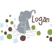 Logans Dots White Canvas Wall Art