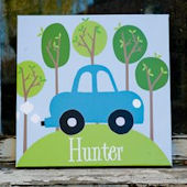 Personalized Road Trip Blue Canvas Wall Art