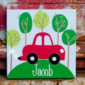 Personalized Road Trip Red Canvas Wall Art
