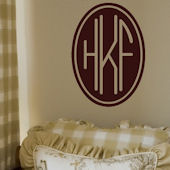 Three Letter Oval Monogram Wall Decal