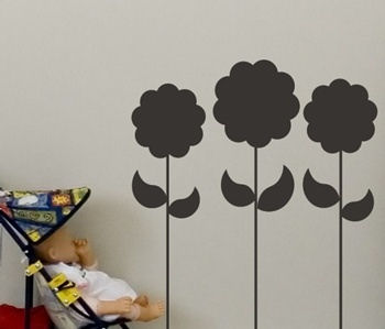 Chalkboard Flowers Peel and Stick Wall Stickers - Wall Sticker Outlet
