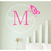 Butterfly Dots Monogram Wall Sticker Decal