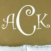 Curly Font Monogram Wall Sticker Decal