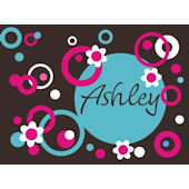 Dots Circles and Flowers Name Wall Sticker Decal