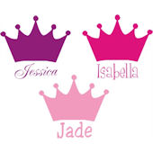 Princess Crown with Name Wall Sticker Decal